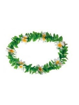 Collier Hawaï feuilles à fleurs blanches