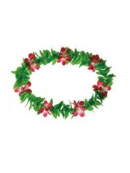 Collier Hawaï feuilles à fleurs roses
