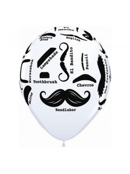 """10 Ballons blanc vintage """"Moustache"""""""