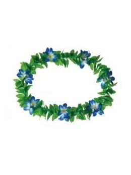 Collier Hawaï feuilles à fleurs bleues