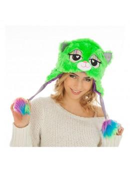 Bonnet fourrure chat vert et violet