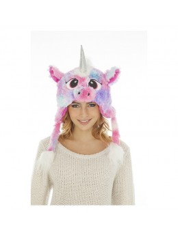 Bonnet fourrure licorne rose