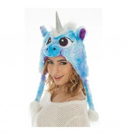 Bonnet fourrure licorne bleue
