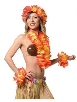 Set Hawaïen fleurs géantes oranges et jaunes