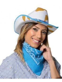 Chapeau cowboy motif bandana bleu