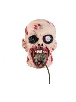 Déco tête zombie avec rat en mouvement