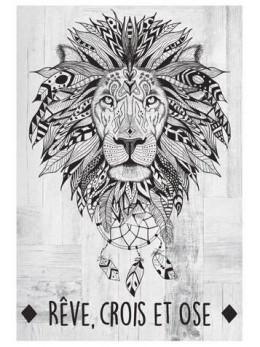 Décor cadre avec toile motif lion