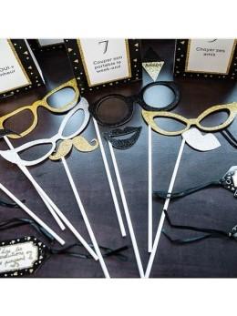 Kit photobooth 9 accessoires pailleté