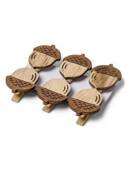 6 pinces glands en bois