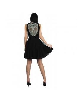 Déguisement robe sexy noir dos squelette