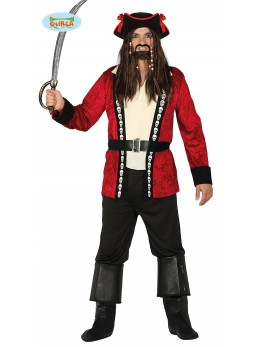 Déguisement capitaine pirate rouge