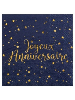 20 Serviettes bleues joyeux anniversaire métallisé
