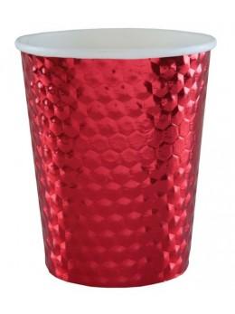 10 gobelets métallisés rouge