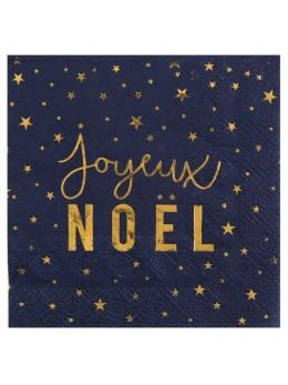 20 serviettes cocktail Joyeux Noël bleu et or