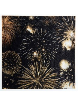 20 serviettes papier feux d'artifices