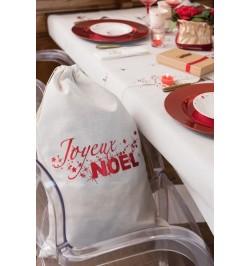 Sac cadeaux Noël nature et rouge