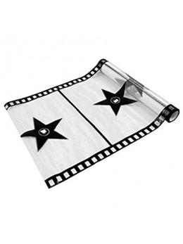Chemin de table cinéma organza blanc noir