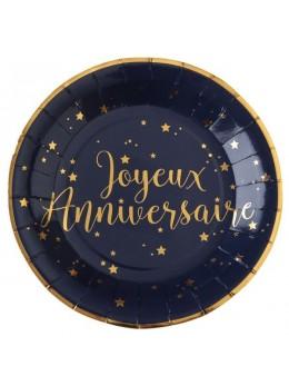 10 Assiettes joyeux anniversaire bleu métallisé