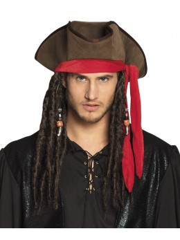 chapeau pirate marron avec dreads