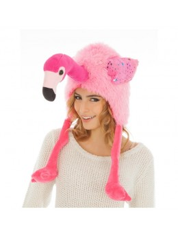 Bonnet fourrure flamant rose