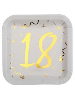 10 assiettes carton doré 18 ans