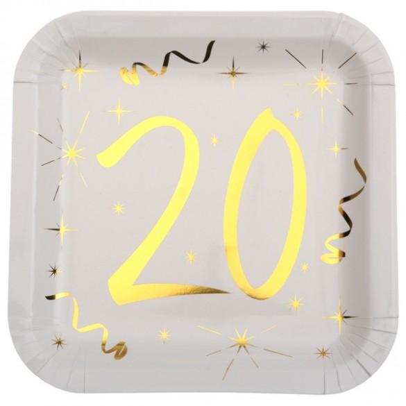 10 assiettes carton doré 20 ans