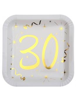 10 assiettes carton doré 30 ans