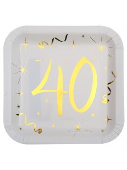 10 assiettes carton doré 40 ans