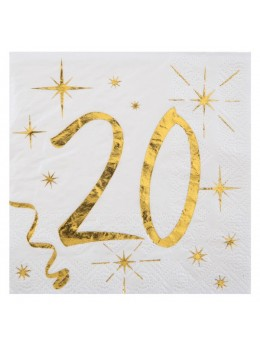 20 serviettes cocktail 20 ans
