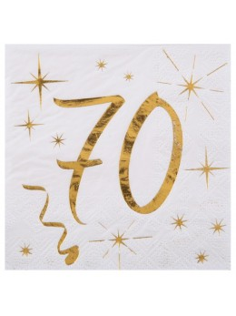 20 serviettes cocktail 70 ans