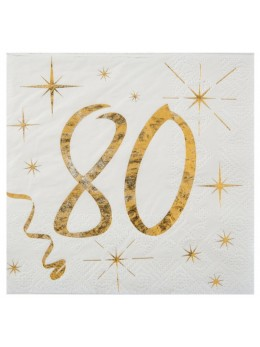 20 serviettes cocktail 80 ans