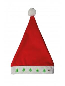 Bonnet père Noel lumineux motif sapins