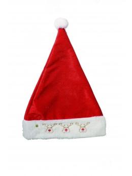 Bonnet Père Noël lumineux motif rennes