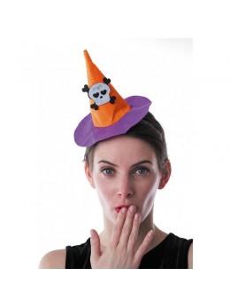 Serre tête mini chapeau sorcière orange