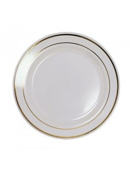 20 assiettes plastiques blanche liseret or 23cm