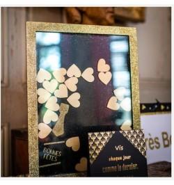 """Cadre livre d'or """"Bonnes Fêtes"""" noir paillettes or"""
