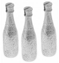 3 Marque-places Bouteille de Champagne ARGENT