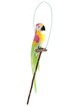 Perroquet perchoir jaune 28cm