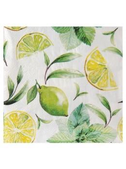 20 Serviettes lunch citron vert
