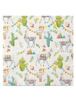 20 Serviettes papier cactus et lama