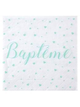 20 serviettes baptême vert d'eau