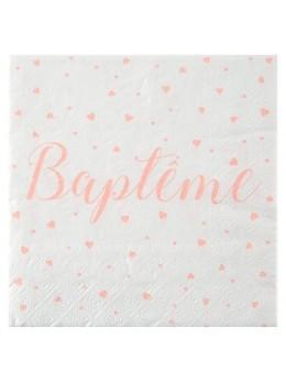 20 serviettes baptême corail