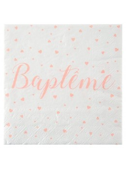 20 serviettes baptème corail