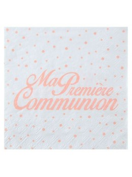20 serviettes papier communion corail