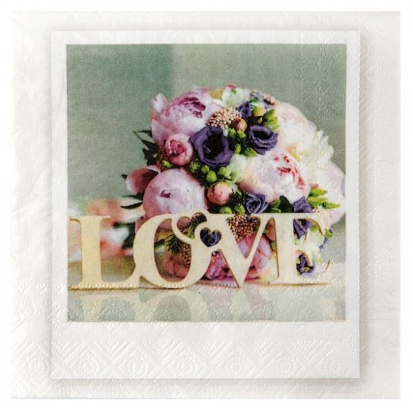 20 serviettes papier Love