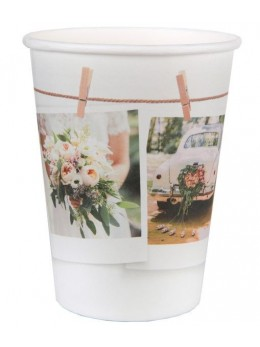"10 Gobelets blanc mariage ""Wedding clic"""