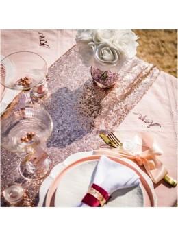 Chemin de table en sequin rose gold
