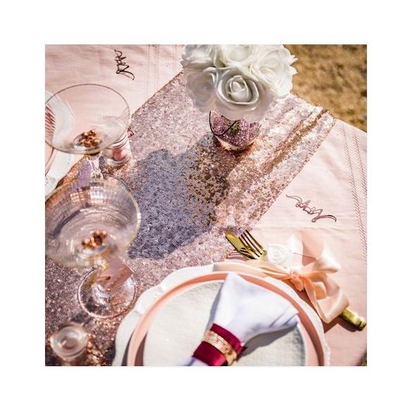 Chemin De Table En Sequin Rose Gold Fetes En Folie
