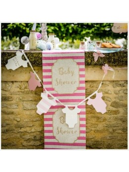 Chemin de table lin baby shower rose