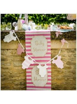 Chemin de table lin baby shower rose